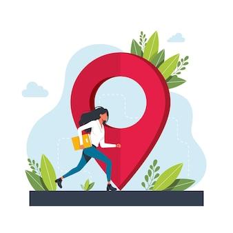 La donna corre verso la geolocalizzazione. applicazione del servizio di navigazione gps. mappe, metafore di indicazioni stradali. illustrazioni di metafora concetto isolato vettoriale. ottieni indicazioni astratte concetto