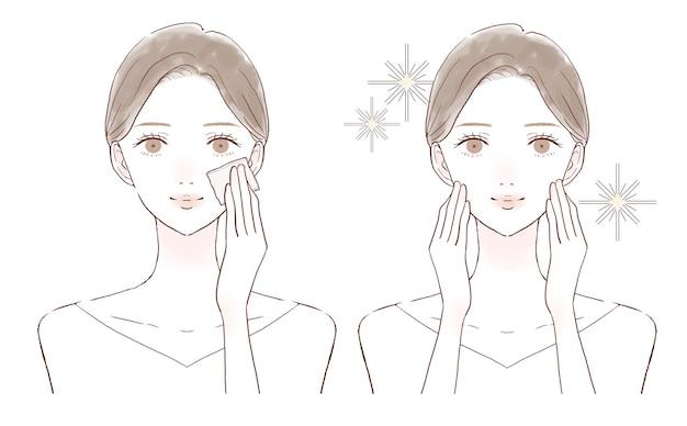 Una donna prima e dopo aver preso il sebo facciale con un pezzo di carta. su uno sfondo bianco.