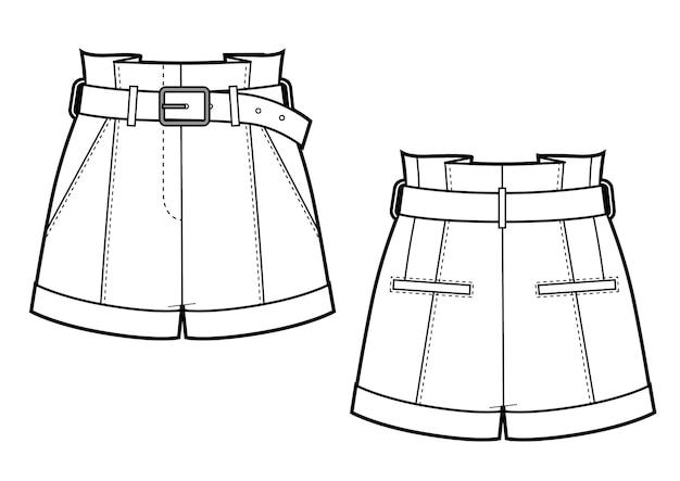Illustrazione vettoriale di pantaloncini in pelle da motociclista da donna vista anteriore e posteriore