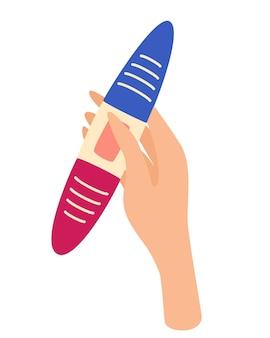 La mano della donna che tiene un test di gravidanza. test di gravidanza negativo o positivo. pianificare il concetto di bambino, maternità e assistenza sanitaria. illustrazione di cartone animato piatto vettoriale