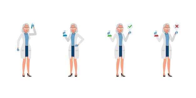Carattere di donna scienziato in varie azioni
