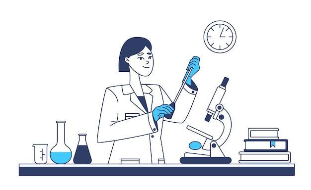 Scienziata che esegue test di laboratorio Vettore Premium