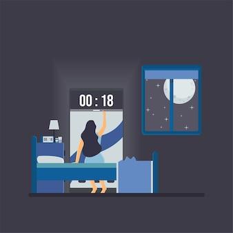 La donna vede l'orologio sul telefono nella metafora di mezzanotte dell'insonnia.