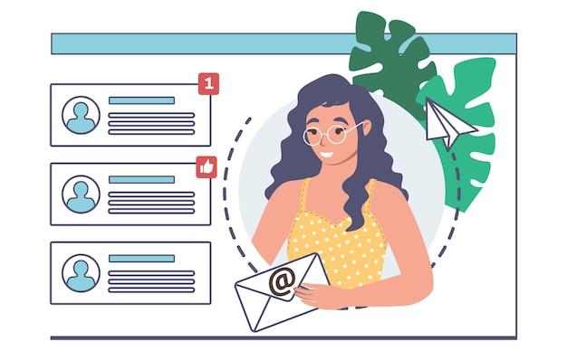 Donna che invia un messaggio di posta elettronica, illustrazione vettoriale. notifiche di messaggi di testo. comunicazione in linea.