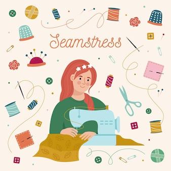Donna che cuce sulla macchina di cucitura. carattere di sarta. set di elementi di cucito.