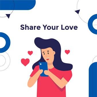 La donna condivide l'amore con i social media utilizzando lo smartphone