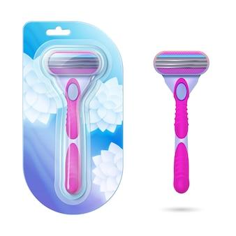 Rasoio da barba donna. rasoi rosa realistici in confezione e isolati sul muro bianco. illustrazione di rasoi igiene femminile. rasoio personale femminile, taglio e depilazione
