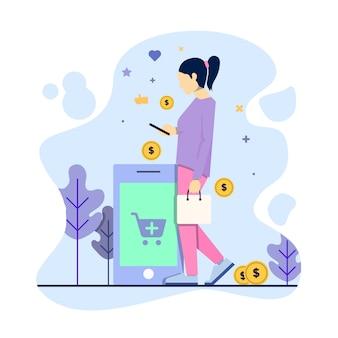 Negozio della donna facendo uso dello smartphone, concetto dell'illustrazione di commercio elettronico