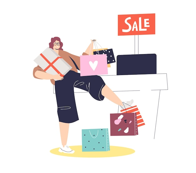 Acquisto della donna nel negozio di moda, acquisto di vestiti con grande vendita
