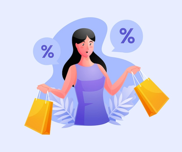 Donna shopping e ottenere uno sconto