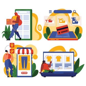 Set di caratteri online di acquisto della donna in cyber monday per affari in linea o illustrazione della pagina web