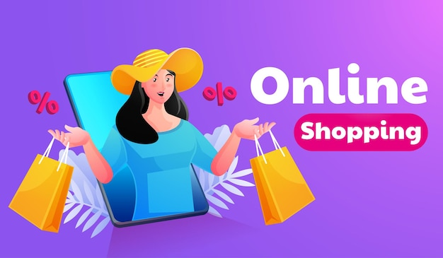 Donna shopping online con smartphone mobile