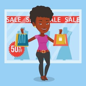 Acquisto della donna sull'illustrazione di vettore di vendita.