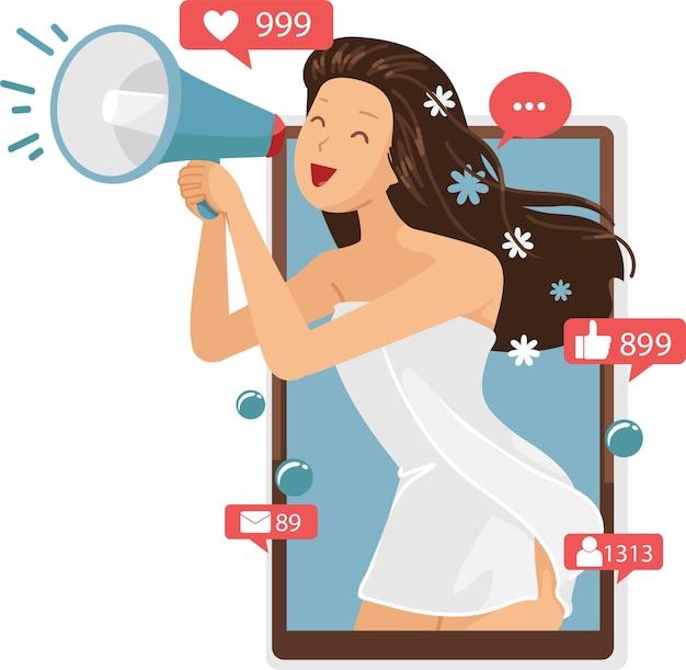 Donna che grida nell'influencer dell'altoparlante. concetto di pubblicità su internet per prodotti per la cura dei capelli.
