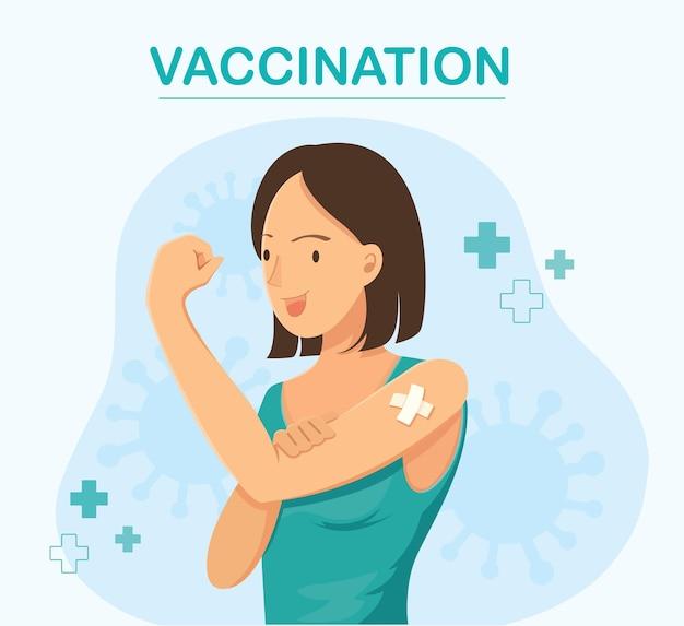 Donna che mostra la vaccinazione vaccinata concept