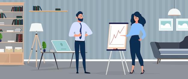 La donna mostra un rapporto all'illustrazione del capo