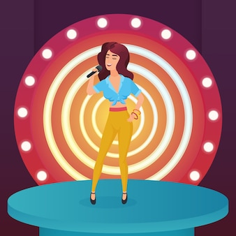 Stella cantante donna che canta canzone pop con microfono in piedi sul palco moderno cerchio con illustrazione di lampade
