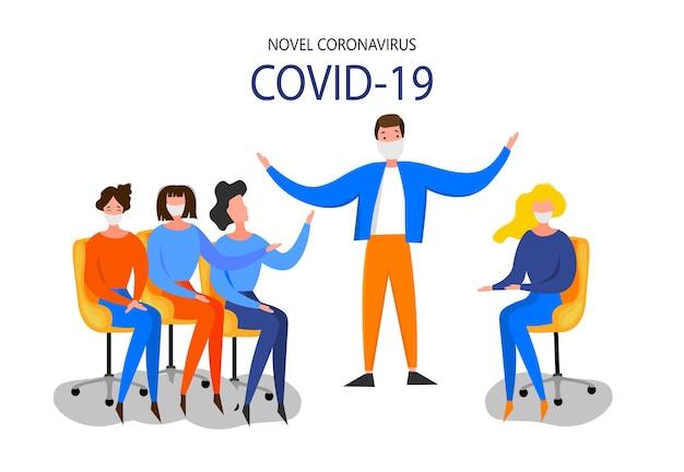 La donna si siede a un personal computer e studia le ultime notizie sull'epidemia di coronavirus 2019-ncov isolata su uno sfondo bianco. concetto di epidemiologia pandemica. illustrazione piana di vettore.