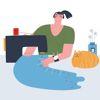 Una donna si siede a cucire un panno rosso su una macchina da cucire vettore piatto