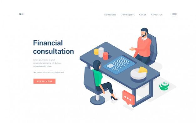 Donna che si siede sulla sedia e che riceve il consiglio della gestione del denaro dall'uomo in mezzo dei grafici sull'illustrazione isometrica