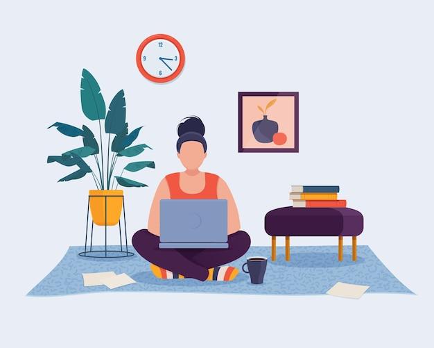 Donna seduta sul pavimento a casa e lavorando sul computer portatile concetto di ufficio domestico illustrazione vettoriale
