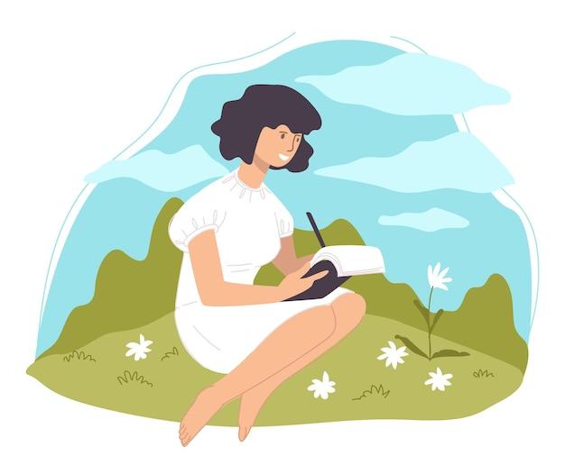 Donna seduta su un vetro in campo disegno fiore in fiore. schizzo della natura e della flora in fiore. hobby del personaggio femminile con matita e libro. artista che scrive poesie all'aperto. vettore in stile piatto