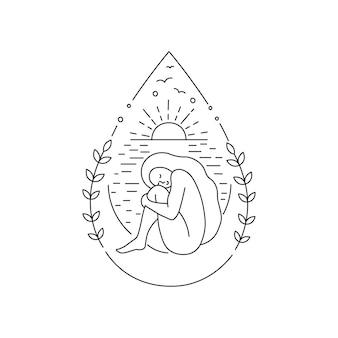 Donna seduta e abbracciando le ginocchia a goccia una goccia d'acqua o olio di siero di latte