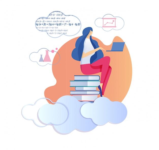 La donna che si siede sulla pila di libri studia la matematica