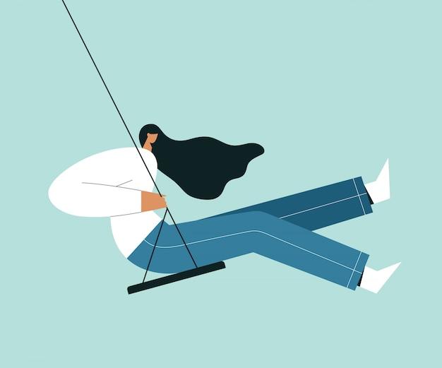 Donna seduta su un'altalena. personaggio femminile dei cartoni animati con i capelli al vento e oscillante.