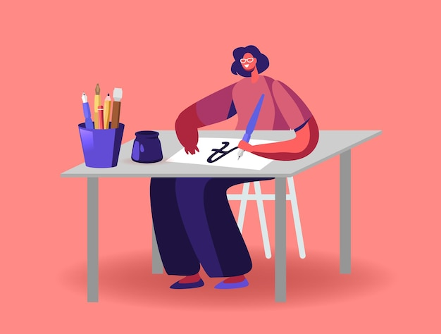 Donna seduta al tavolo con la penna che si esercita nell'illustrazione di lettere e calligrafia di ortografia