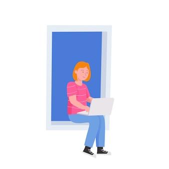 Donna che si siede in windows con l'illustrazione piana del computer portatile