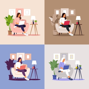 Donna seduta con il computer portatile. illustrazione di concetto per lavoro, studio, istruzione, lavoro da casa, stile di vita sano.