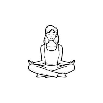 Donna che si siede nell'icona di doodle di contorno disegnato a mano di posa del loto di yoga. benessere, meditazione, concetto di rilassamento mentale. illustrazione di schizzo vettoriale per stampa, web, mobile e infografica su sfondo bianco.