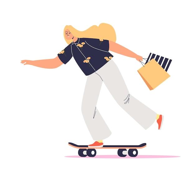 Donna su skate tenendo le borse della spesa