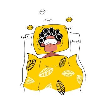 Donna che dorme in bigodini e maschera per dormire in stile piatto. ragazza addormentata. trattamenti termali prima di coricarsi.