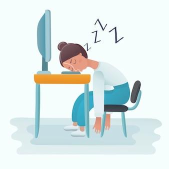 Donna che dorme sulla tastiera del computer portatile nell'ufficio.