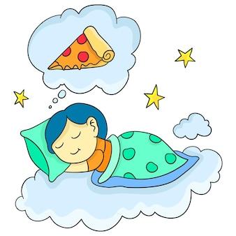 La donna dorme e sogna una fetta di pizza. adesivo carino illustrazione dei cartoni animati