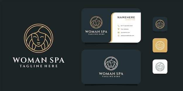 Design del logo spa donna con modello di biglietto da visita.