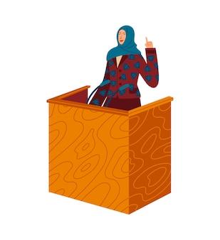 La donna parla dalla tribuna al pubblico, il femminismo, i diritti delle donne