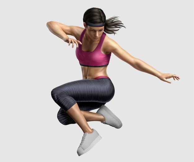 Donna in abbigliamento sportivo che salta nell'aria, illustrazione 3d
