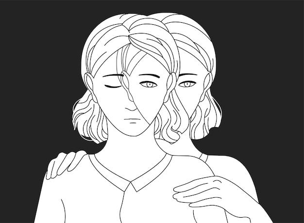 Donna in piedi dietro la sua triste copia e mettendo le mani sulle spalle