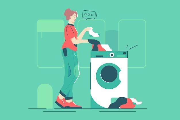 Donna in piedi vicino all'illustrazione di vettore della lavatrice. la femmina ha messo i calzini sporchi nello stile piano della lavatrice servizio lavanderia, giorno di pulizia, concetto di famiglia. isolato su sfondo verde