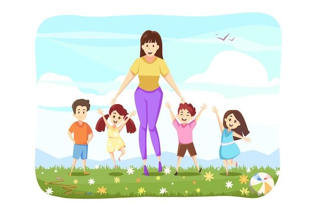 Donna in piedi con il concetto di bambini