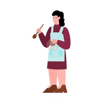 Donna in piedi con il fumetto piatto cucchiaio da cucina isolato su bianco