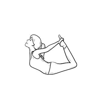 Donna che allunga nell'icona di doodle di contorno disegnato a mano di posa dell'arco di yoga. stretching, relax, concetto di fitness. illustrazione di schizzo vettoriale per stampa, web, mobile e infografica su sfondo bianco.