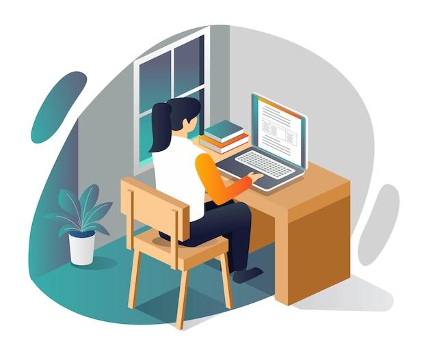 Donna che studia online in camera con laptop