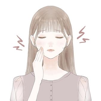 Una donna che soffre di carie e bocca s. su uno sfondo bianco.