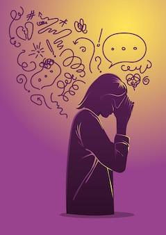 Donna che soffre di depressione, chiudendo il viso con i palmi delle mani in preda alla disperazione, cercando di risolvere problemi complessi