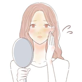 Una donna che soffre di pelle opaca. su uno sfondo bianco.