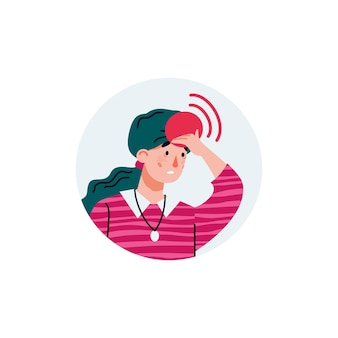 Donna che soffre dall'illustrazione piana di vettore del fumetto di mal di testa isolata